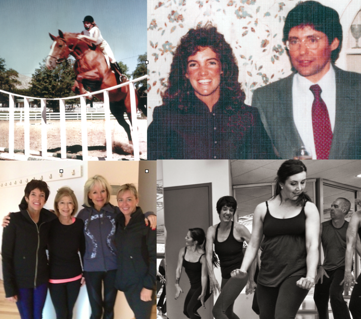 From top left: Gail jumping her horse Missy – 1979.  With her husband Wayne in the early 1980s. With friends at MUUV. With fellow dancers.